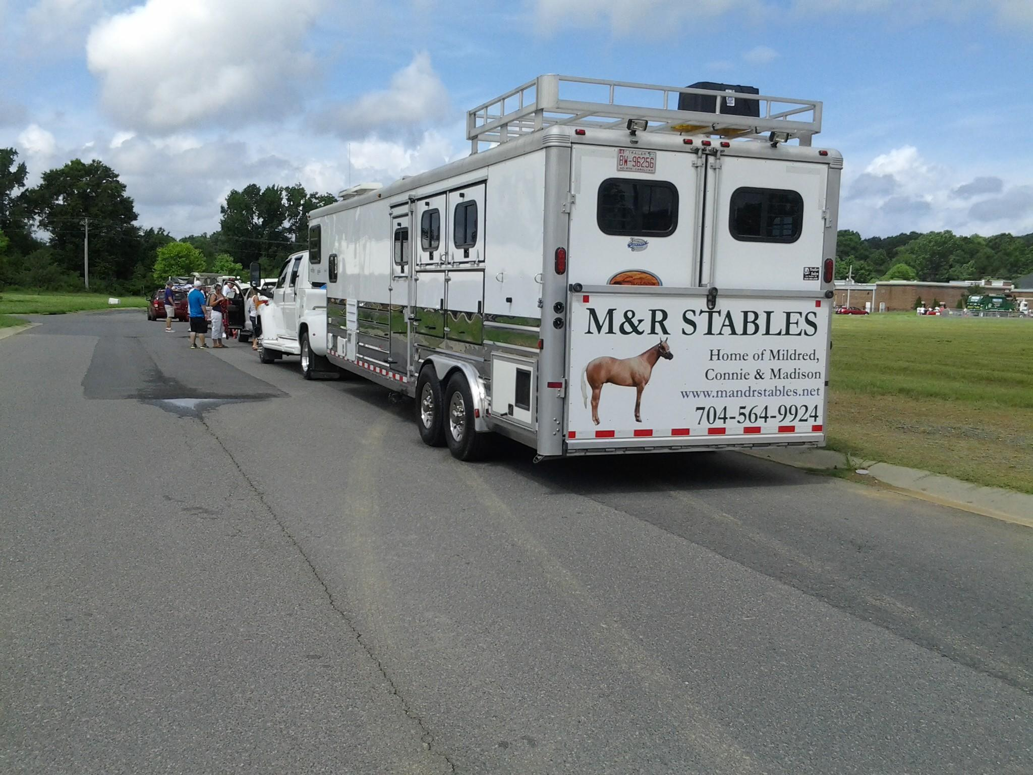 M and R Stables - Horse Hauler with Sign
