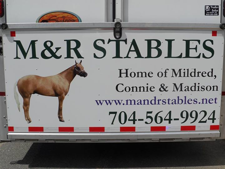 M and R Stables - Home of Mildred, Connie & Madison Sign